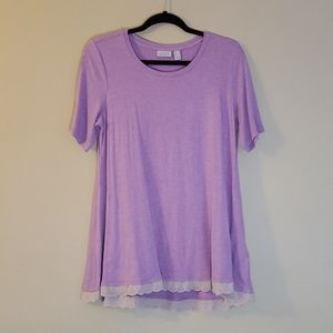 LOGO Lori Goldstein Light Purple Heathered Top Med